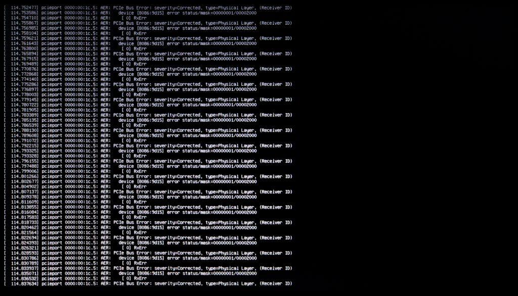 PCIe Bus Error Message